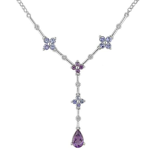14 kt White Gold Diamond and Multi gemstone Necklace