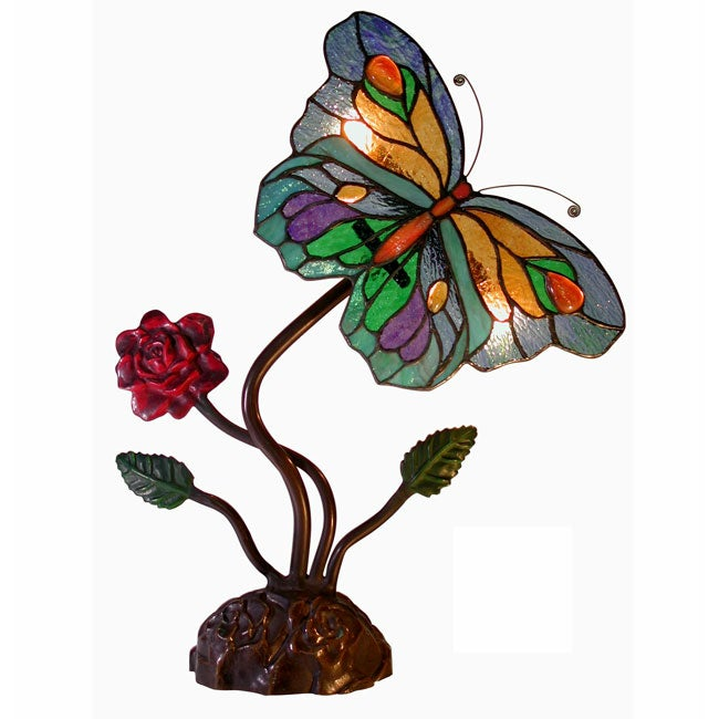 Tiffany Style Butterfly & Red Rose Accent Lamp