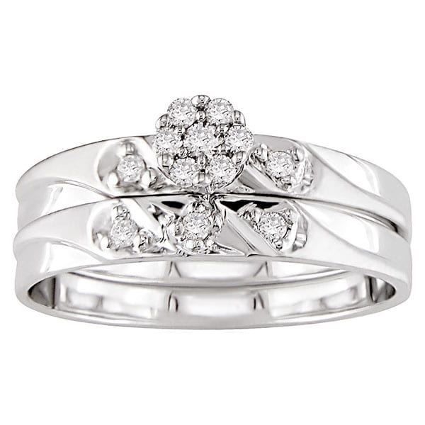 Miadora 14k Gold 1/6ct TDW Round Diamond Bridal Ring Set (G-H/ I3)