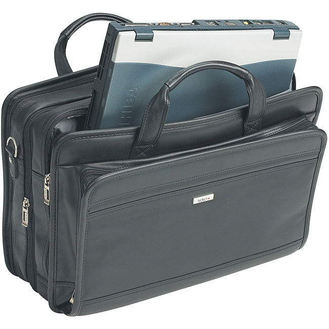 Solo Leather Expandable 15.4-inch Overnight Laptop Case