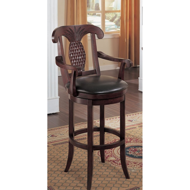 Pineapple Leather Swivel Barstool 10340194 Overstock