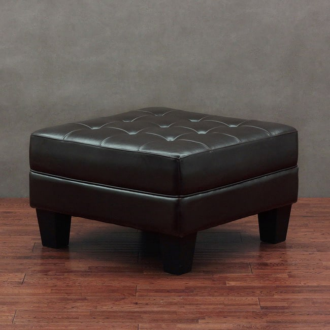 leather tufted ottoman dark brown overstock shopping great deals on ottomans. Black Bedroom Furniture Sets. Home Design Ideas