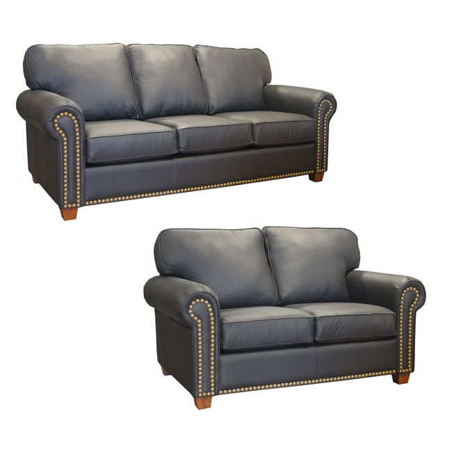 Ebony leather studded sofa and loveseat 10353307 for Studded leather sofa