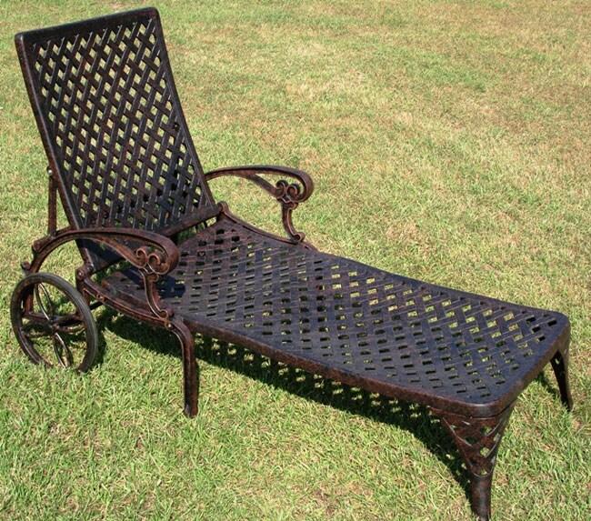 Nassau bronze cast aluminum chaise lounge 10374937 for Bronze chaise lounge