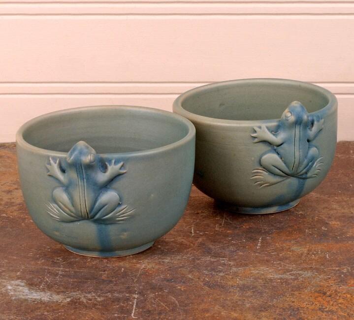 Set of 2 Celadon Ceramic Frog Tea Cups (Indonesia)