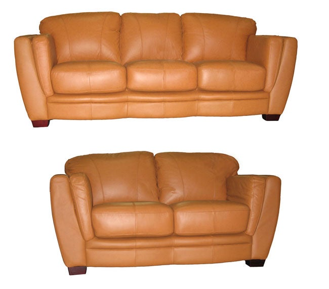 Cognac Leather Sofa And Loveseat Set 10387394 Shopping Great Deals On Sofas
