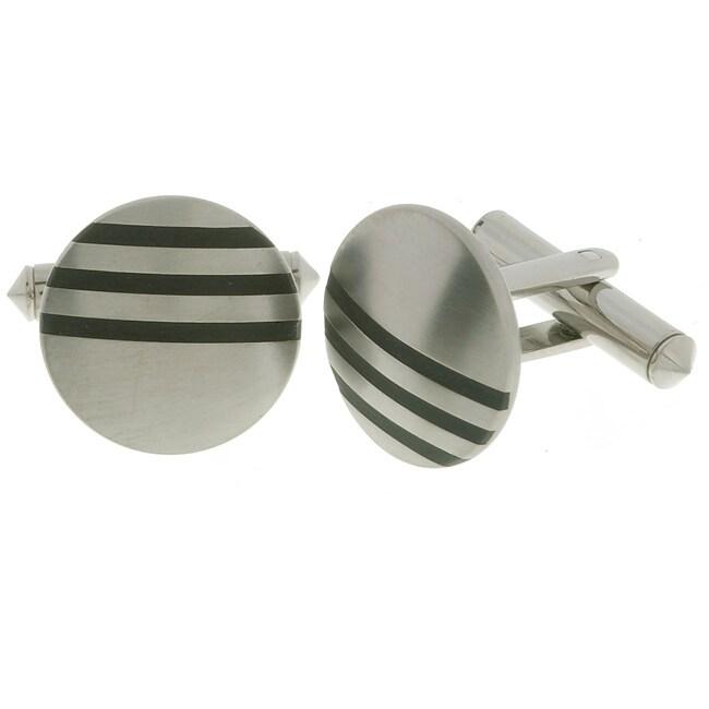 Men's Titanium Cuff Links with Black Rhodium Inlay