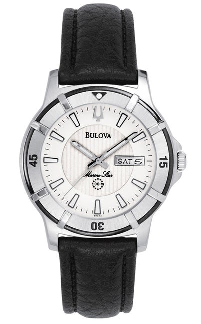 Bulova Marine Star Mens Black Leather Watch
