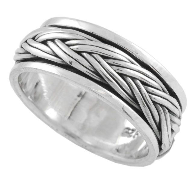 Journee Sterling Silver Braided Spinner Band