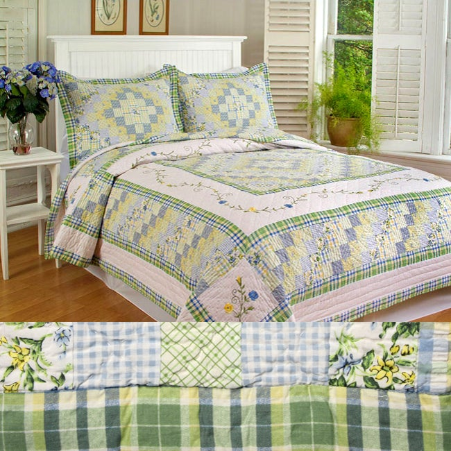 Pleasant Trip Patchwork 3-piece Cotton Quilt Set