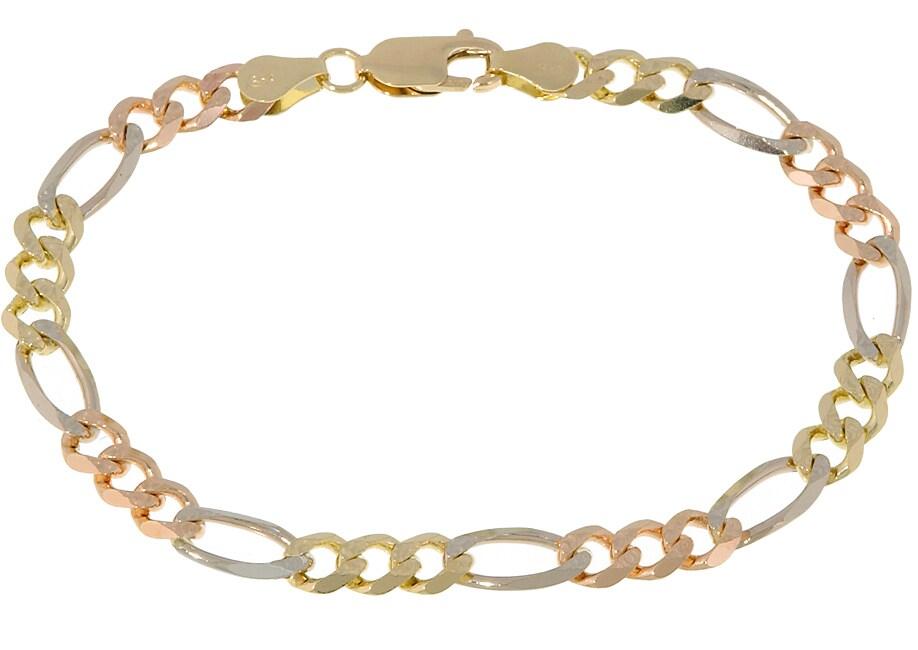 Men's 14k Tri-tone Gold Pave Figaro Bracelet