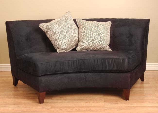 Black Armless Curved Loveseat