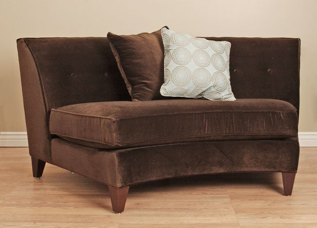 Dark Brown Armless Curved Loveseat 10464761 Shopping Great Deals On Sofas