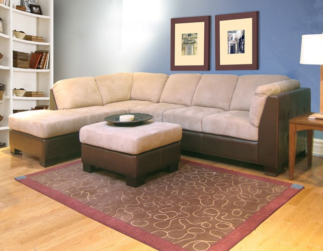 Brown beige durasuede sofa sectional and ottoman for Odessa waffle suede reversible sectional sofa with ottoman