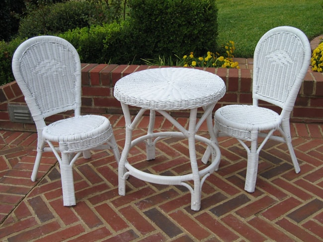 Children S White Wicker 3 Piece Bistro Set 10480122