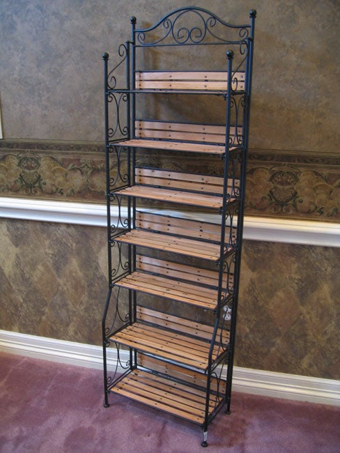 Wrought Iron And Wood Storage Shelf 10481698 Overstock