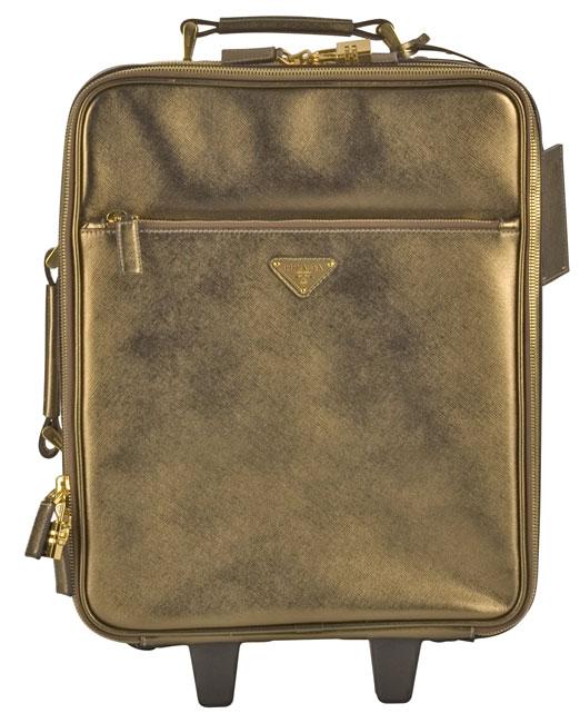 Prada Gold Metallic Leather Trolley Suitcase - 10492760 ...