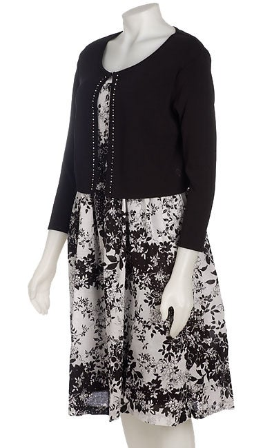 Sandra Darren Beaded Sweater and Dress Set