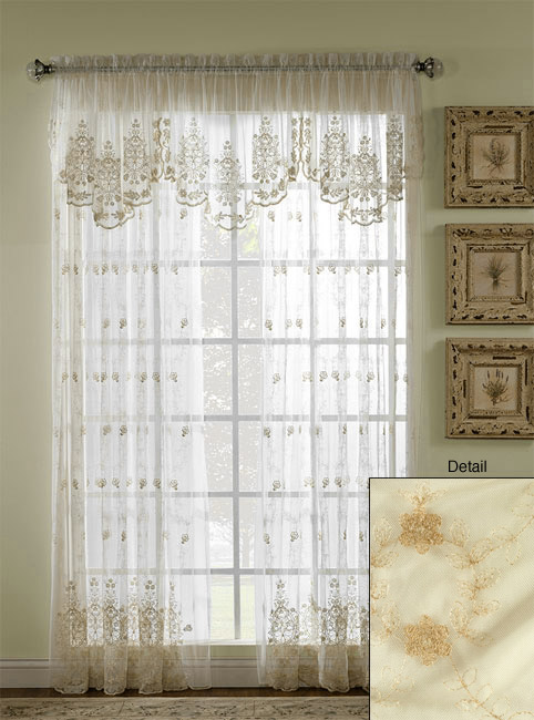 French Lace Sheer 95-inch Curtain Panel