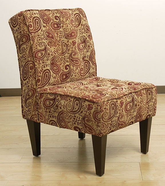 Paisley Burgundy Button Tufted Chair Overstock Shopping Great Deals On Living Room Chairs