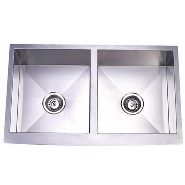 20 Inch Farmhouse Sink : ... Gauge Undermount Curved Front Double Bowl Farmhouse Apron Kitchen Sink