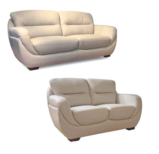 Bone Leather Sofa and Loveseat