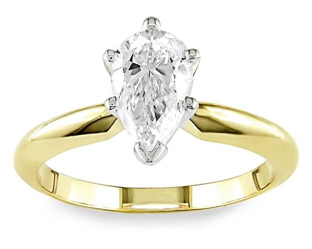 Miadora 14k Gold 1ct TDW Pear Diamond Solitaire Ring (I-J, I1-I2)