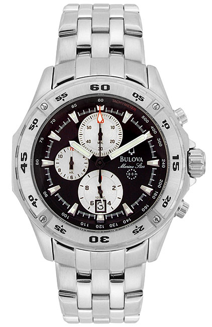 Bulova Marine Star Mens Black Dial Chronograph Watch