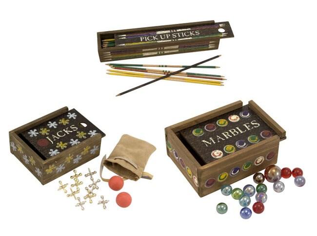 Vintage Jacks, Marbles and Pick-up Sticks Game Sets