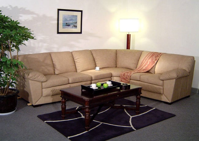 Taupe 6 seat leather sectional sofa 10572289 overstock for Odessa waffle suede reversible sectional sofa with ottoman