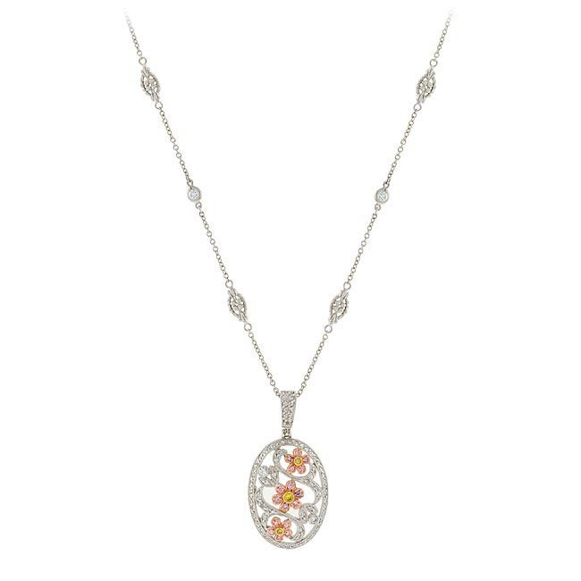 ICZ Stonez Sterling Silver and 18k Goldplated CZ Filigree Necklace