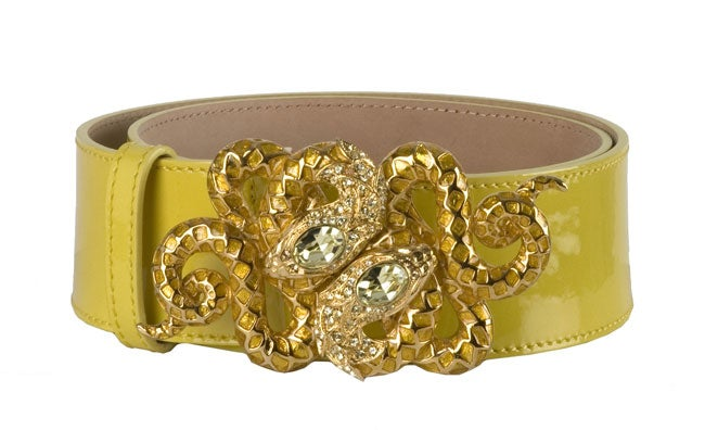 Roberto Cavalli Yellow Patent Leather Snake Belts