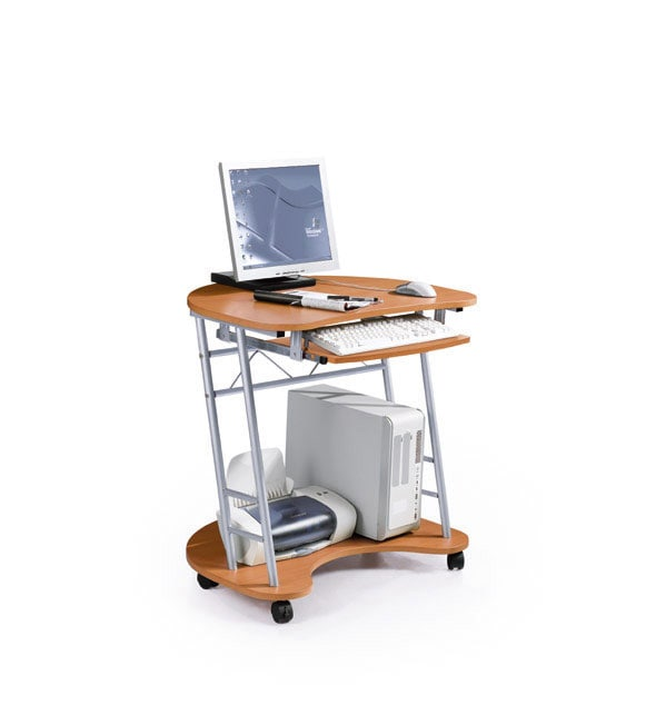 Two-Tier Half Oval Desk with Wheels