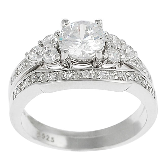Journee Sterling Silver CZ Solitaire Ring with Matching Band