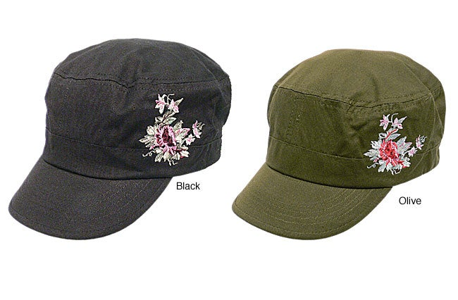 Hailey Emroidered Rose Military Hat