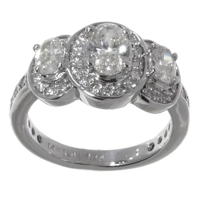 14k White Gold 1 3/4ct TDW Oval and Round Diamond Three Stone Ring (I