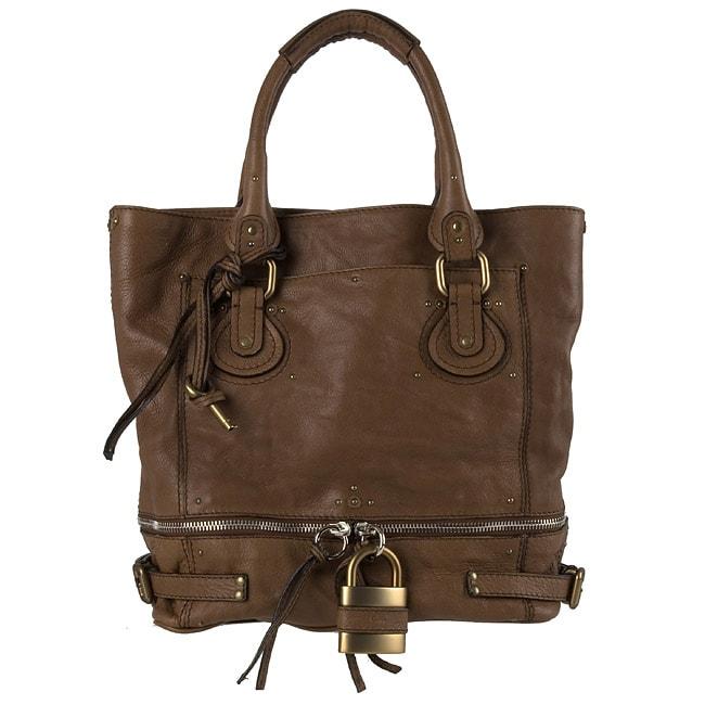 Chloe Brown Leather Paddington Tote Bag - 10676281 - Overstock.com ...