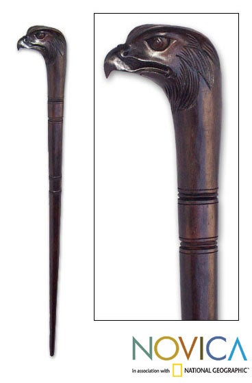Wooden Eagle Head Walking Stick (Indonesia)