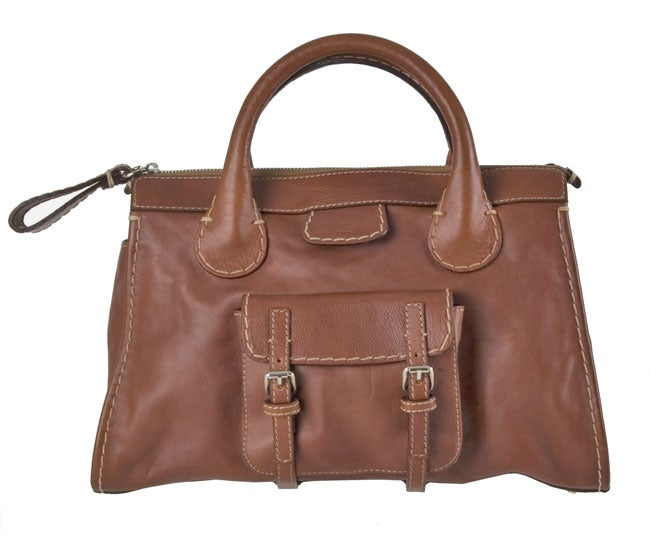 Chloe Brown Leather Edith Satchel Bag - 10679730 - Overstock.com ...