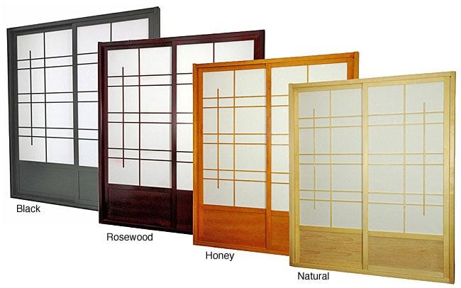 Wood and Rice Paper Eudes Shoji Double-sided Sliding Door Kit (China)