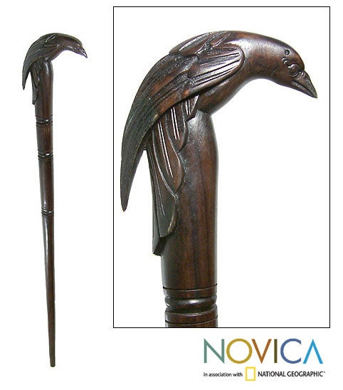 Wooden Raven Walking Stick (Indonesia)