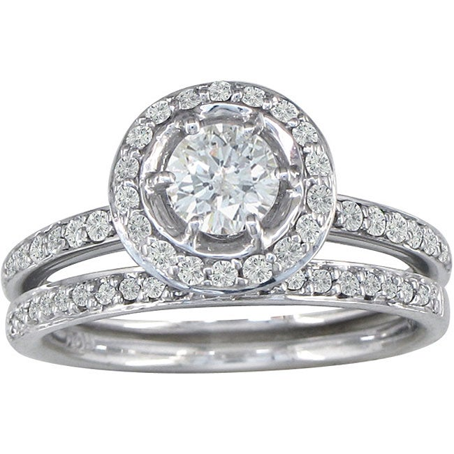 White Gold 1ct TDW Round Diamond Bridal Set (G H, I1)