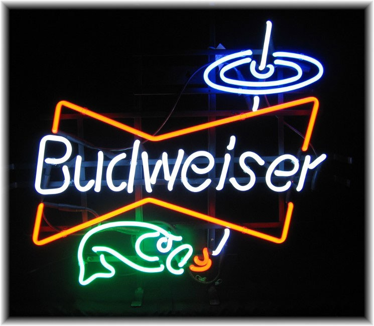 Budweiser hooked fish gone fishing neon bar sign for Fish neon sign