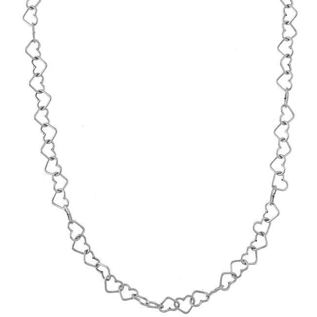 10k White Gold Heart Link Necklace