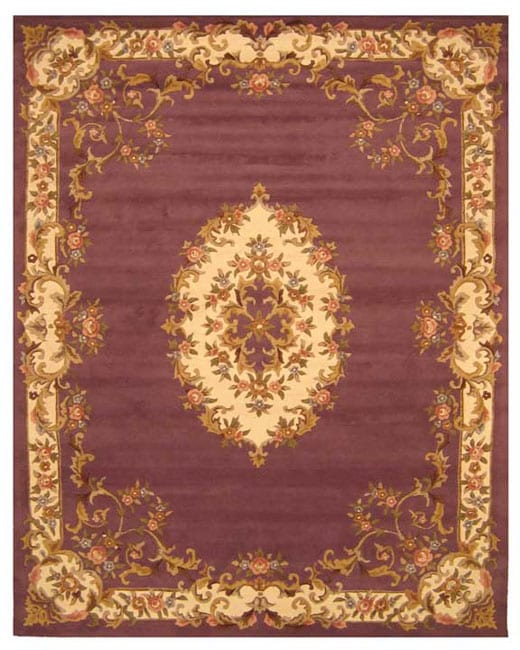 Hand-tufted Wool Purple Aubusson Rug (5' x 8')