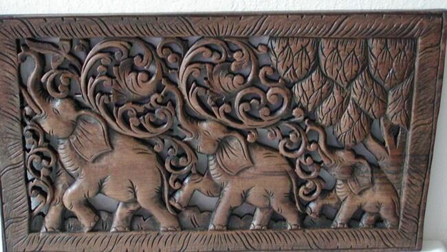Teak Wood Elephant Wood Carving, Handmade in , Handmade in Thailand