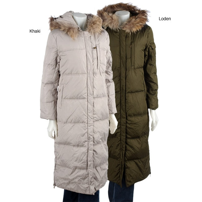DKNY Women's Long Down Coat with Fur Trim Hood