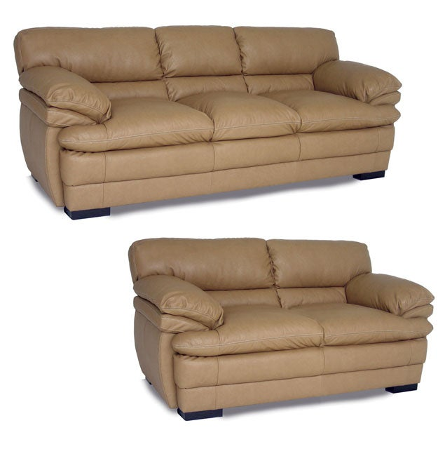 Dalton Tan Leather Sofa And Loveseat 10725031 Shopping Great Deals On Sofas
