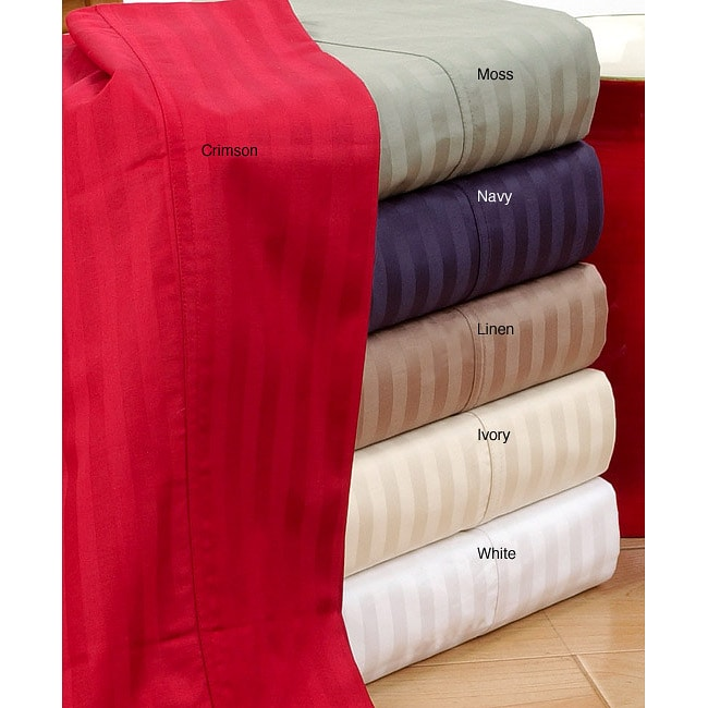 Sateen 320 Thread Count Long Staple Cotton Striped Sheet Set