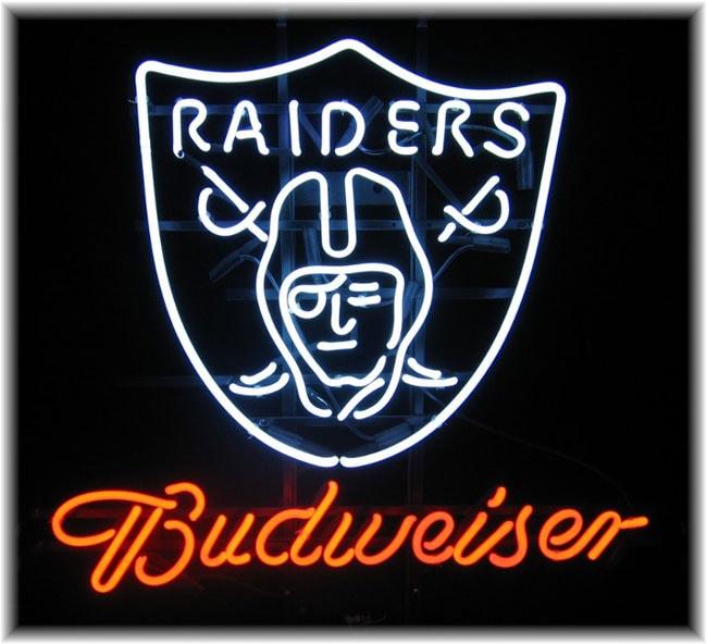 Budweiser Oakland Raiders Neon Bar Sign - 10738925